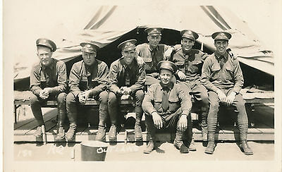"RPPC WWI Soldiers ""The Outlaws"" Group of Army Men Real Photo Postcard"