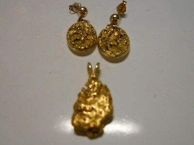 gold nugget earrings and pendant nearly 15 grams with 14k backings not scrap