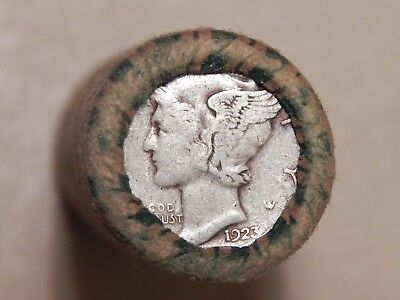 Unopened Silver Mercury Dime Roll - 1923/1931 Sealed Ends Mixed Dates #m712