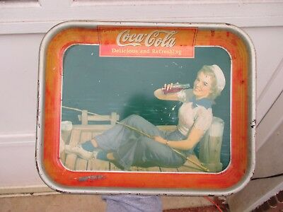 Original Vintage  1940 COCA COLA tin COKE SERVING TRAY Sailor Girl Fishing