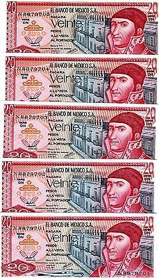 LOT Mexico, 5 x 20 Pesos, 1977, P-64d,  UNC