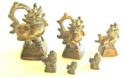 6-Antique Bronze Oriental Figural Scale Weights Foo/dogs Or Dragons Rare