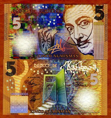 Kamberra, 5 Numismas, 2018, Private Issue > Yellow Salvador Dali, New Color