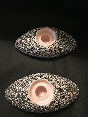 Vintage Retro SHAWNEE KENWOOD Pottery Candle Holder Pink Charcoal Confetti Glaze