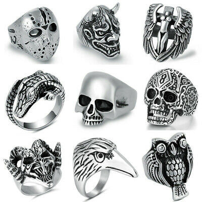 316L Stainless Steel Fashion Silver Men's Punk Biker Rings Male Casting Jewelry