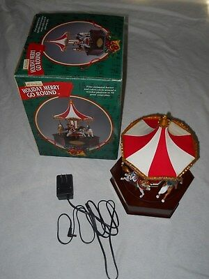 Mr Christmas Holiday Merry Go Round Carousel 50 Songs Animated Horses w/Box 2000