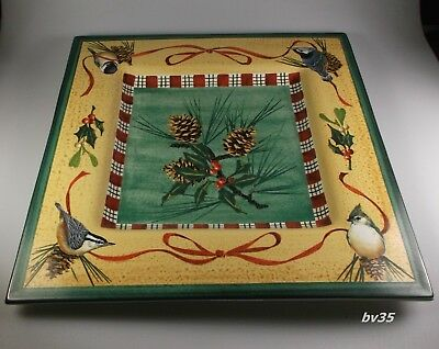"""LENOX WINTER GREETINGS everyday SQUARE SERVING PLATTER  14 7/8"""" - PERFECT!"""