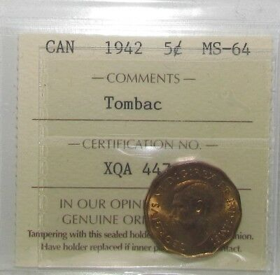 1942 Tombac 5 Cents - ICCS Very Choice Uncirculated