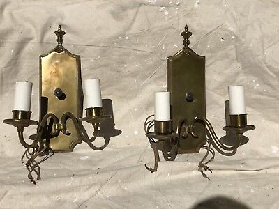 Antique Pair Of  Brass Wall Sconces - Preowned