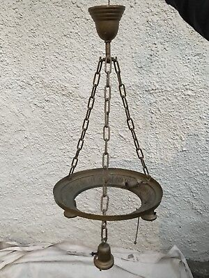 Antique Brass Cast Iron Arms Art Deco/Nouveau Hanging Chandelier Light / Lamp