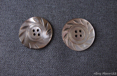 2 Vintage Deeply Carved Flower Brownish Mop Mother Of Pearl Buttons