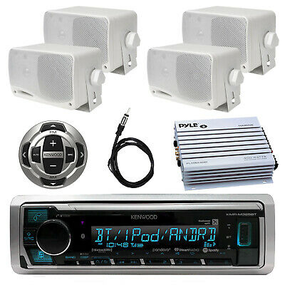 Marine Bluetooth Radio, 4x 3.5'' Speaker, 4 Channel Amplifier, Remote, Antenna