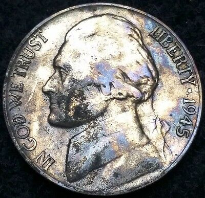 1945-P Silver Jefferson Nickel, 5 Cents **RAINBOW TONING** Free Combined S/H