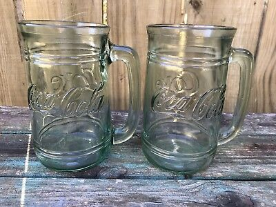 Coca Cola green glass Coke mugs set of 2 great condition fast ship