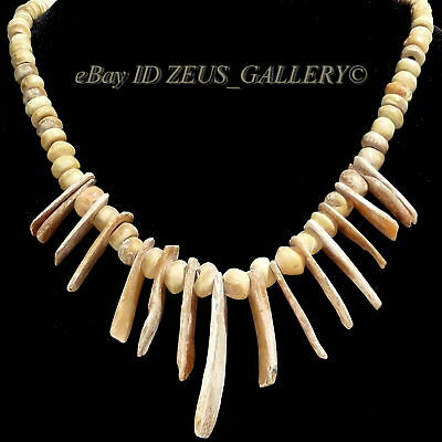 Pre Columbian CARVED Shell BEADS Necklace Nazca,Chancay w/Huge Blade Pendants