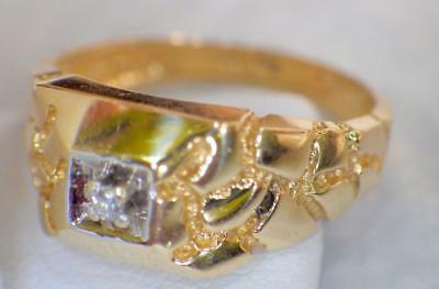 10KT Yellow GOLD Nugget Look Diamond Ring 3.983 Grams Size 10 - 1/4