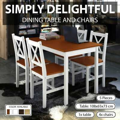 vidaXL Wooden Dining Set 5 Pieces Kitchen Furniture Table Chairs Multi Colours