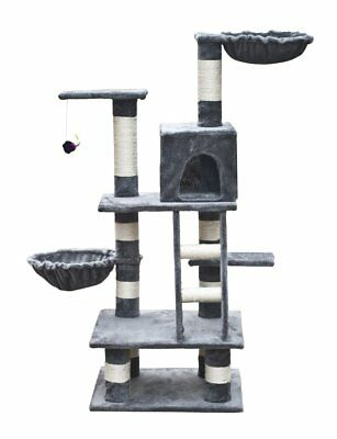 Cat Tree 122 Grey Pet Scratcher Post Poles Scratching House Gym Condo Furniture
