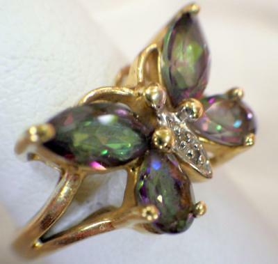10KT Yellow Gold Marquis Cut Mystic Topaz Ring 3.271 GRAMS Size 7 Butterfly