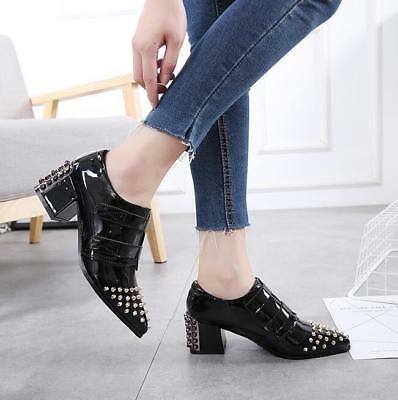 Casual Hot Womens Pointed Toe Rivet Block Heel Patent Leather British Shoes