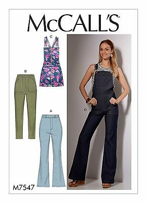 M7547 Sewing Pattern Casual Youth Close Fitting Jeans Pants Overalls Size 6-14