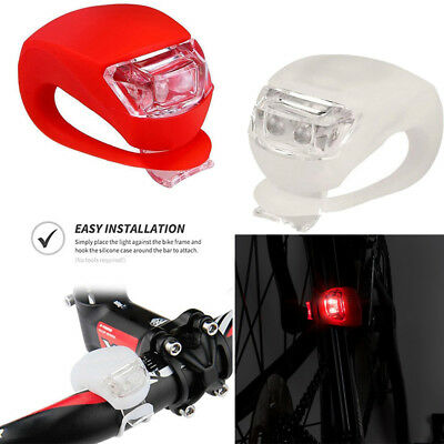 2 LED Silicone Mountain Bike Bicycle Front Rear Lights Set Push Cycle Clip Light