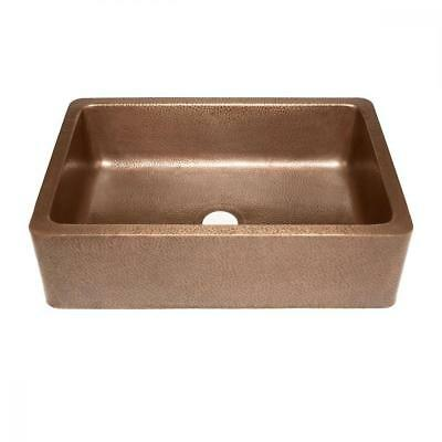 Adams Farmhouse Apron Front Handmade Copper Kitchen Sink 33 in. Single Bowl...