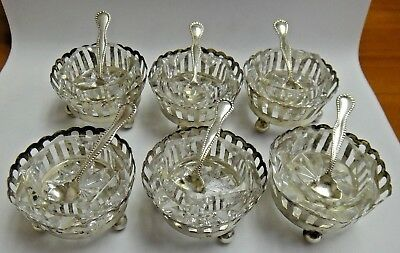 Vintage Sterling Silver Webster Co Saucer Set of 6 with 6 Spoons 6 Glass Inserts