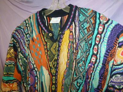 Vtg Coogi Sweater Australia Cotton Mens sz L Biggie Hip Hop multi color mosaic