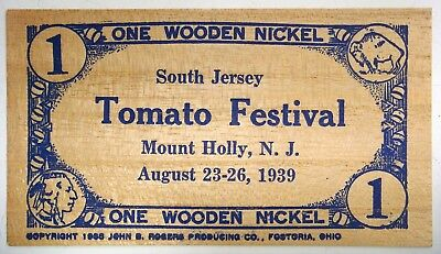 RARE - South Jersey TOMATO Festival, Mount Holly, N.J. 1939 flat wood nickel