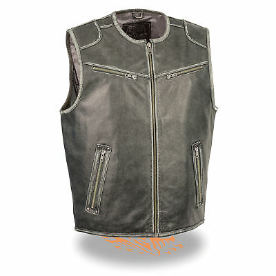 MENS MOTORCYCLE VINTAGE DISTRESSED GREY LEATHER VEST w/ TWO GUN POCKETS - SACZ