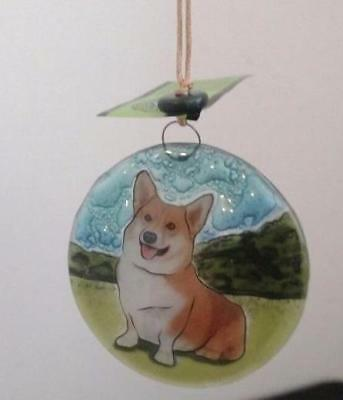 Welsh Corgi Dog Fused Art Glass Ornament Ecuador WFTO Fair Trade