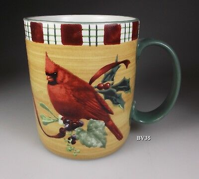 "LENOX WINTER GREETINGS everyday MUG CARDINAL 3 7/8"" - SET OF 2 MUGS - EXCELLENT"