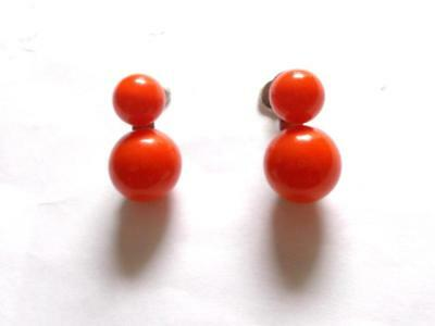 VINTAGE 1940's ORANGE AMBER LUCITE BEAD SCREW FASTENING EARRINGS - JAPAN