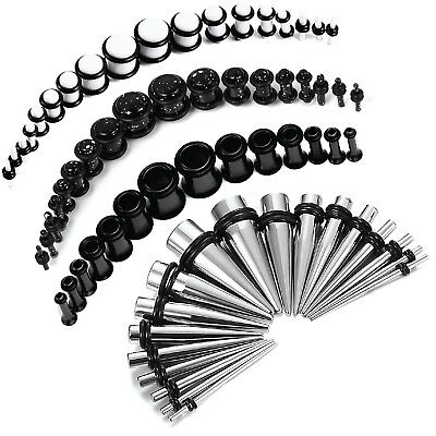 Stretching Kit Taper Plug Ear Set Black Stainless Steel 14G-00G Gauges Pack 72PC