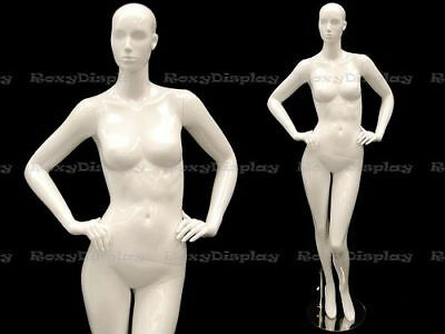 Female Fiberglass Mannequin Glossy White Abstract Fashion Style #MC-ANNA03