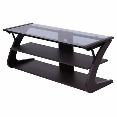 3 Shelves Gl Table Top Tv Entertainment Stand Center Media Console Furniture
