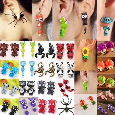 Women Cute 3D Cartoon Animal Fox Cat Polymer Clay Ear Stud Earrings Jewelry Gift