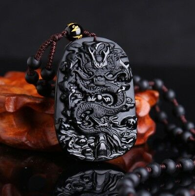 Hand Carved Black Natural Obsidian stone Dragon Lucky Pendent Lucky Necklace N13