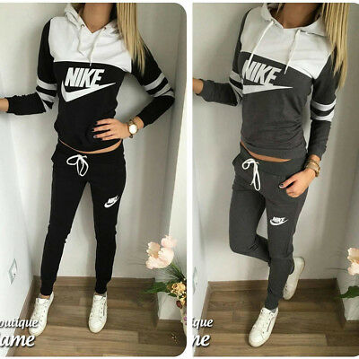 Women Casual Tracksuit Hooded Sweatshirt Sports Running Fitness Joggings Pants