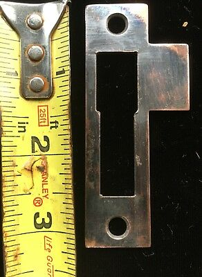 Open Section Jappaned Antique Vtg Mortise Lock Strike Plate Keeper Part Latch