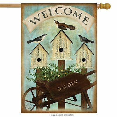 "Wheelbarrow Welcome Spring House Flag Birdhouses Floral 28"" x 40"" Briarwood Lane"