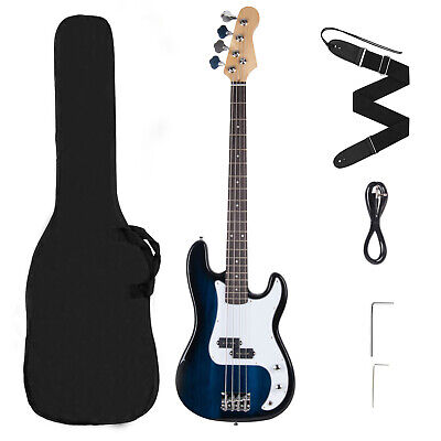 Full Size 4 Strings Electric Bass Guitar +AMP Cord+Gigbag Case+Strap Blue