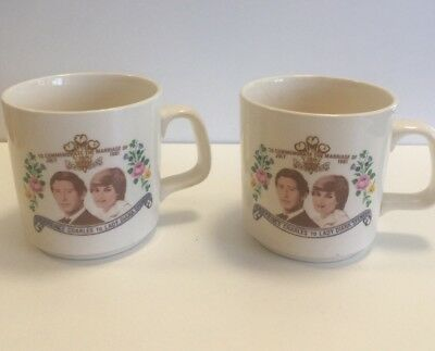 2x Vintage Commemorative Mug Cup Marriage of Prince Charles and Lady Diana 1981