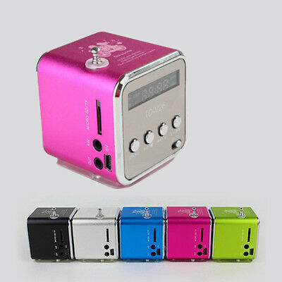 Mini Soundstation Stereo Lautsprecher MP3 Player FM Radio Box Micro SD Rot