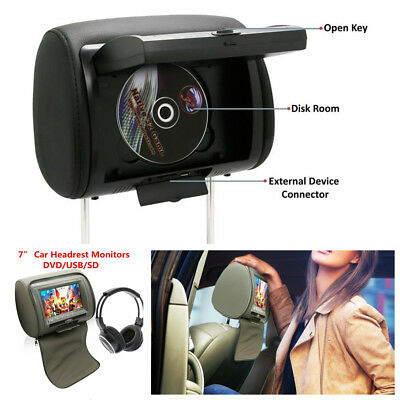 "7"" Car Headrest Monitors w/DVD Player/USB/IR Remote Games Headphone With Headset"