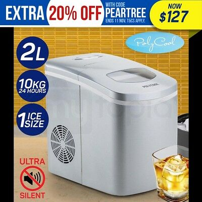 POLYCOOL 2L Portable Ice Maker Automatic Machine Home Fast Fridge Quick - Silver