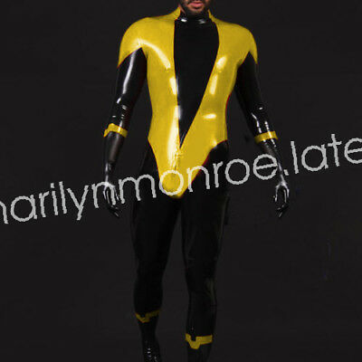 2018 Latex Gummi Rubber Tight Black and Yellow Race Suit Catsuit Size XXS-XXL