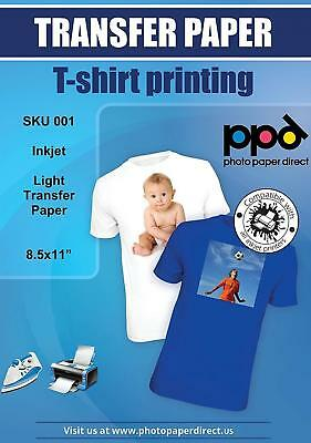 "PPD Inkjet Iron-On Light T Shirt Transfers Paper LTR 8.5x11"" pack of 10..."