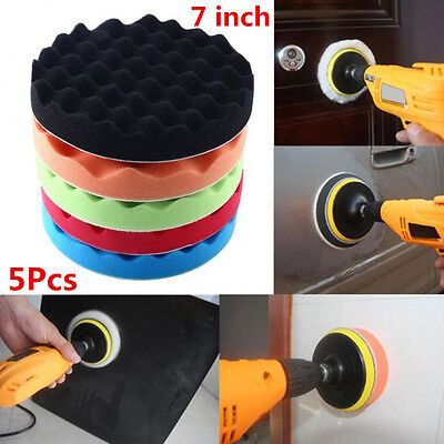 5Pcs 7 inch/18cm Wavy Sponge Foam Polishing Buffer Pad Kit For Car Auto Polisher